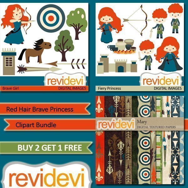 Red Hair Brave Princess Clipart and Paper Bundle.