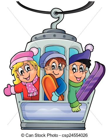 Vector Illustration of Cable car theme image 1.