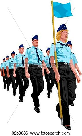 Clip Art of marching cadets 02p0886.