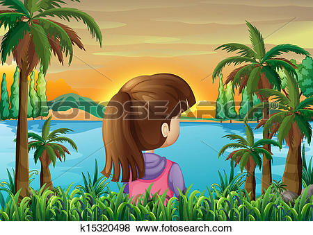 Clip Art of A lady watching the calm sea k15320498.