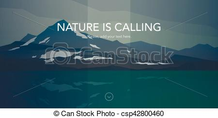 Clip Art Vector of Cold mountains and calm sea water landscape.