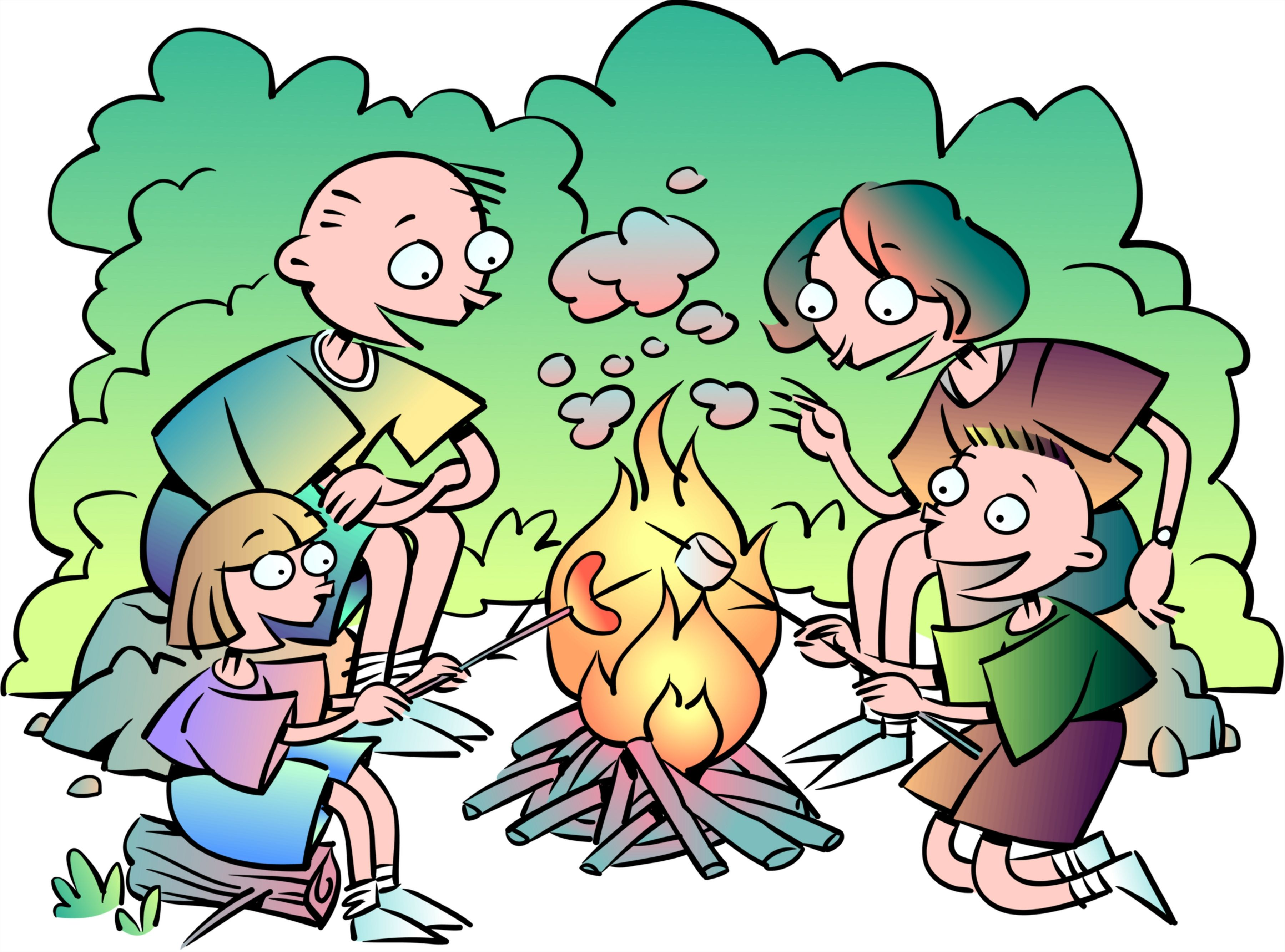 Singing around the campfire clipart.