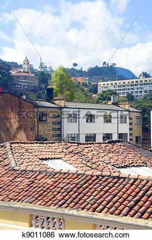 Stock Images of rooftop view La Candelaria Bogota Colombia.