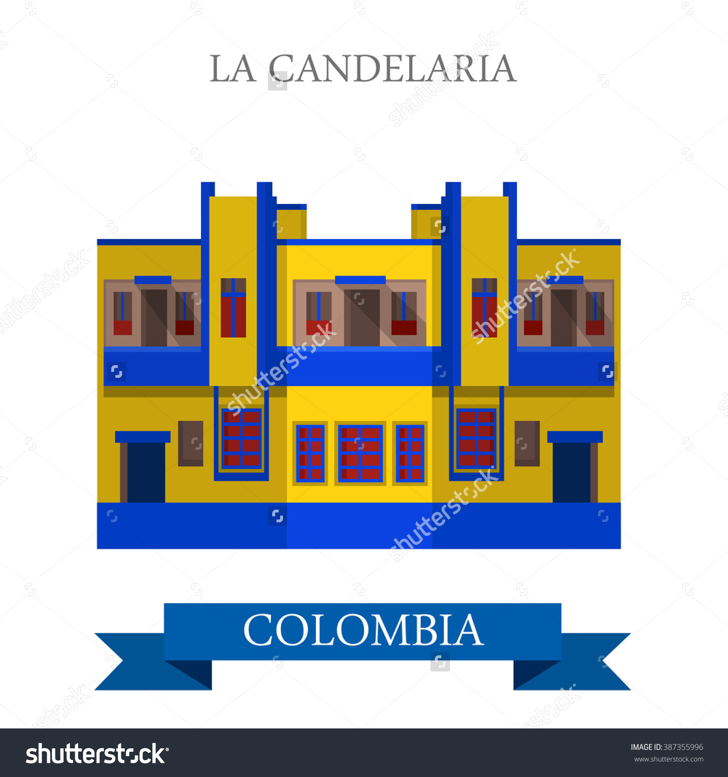 La Candelaria In Bogota Colombia. Flat Cartoon Style Historic.