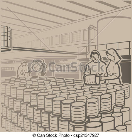 Vector Illustration of Cannery.