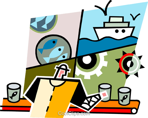 Man working in a cannery Royalty Free Vector Clip Art illustration.