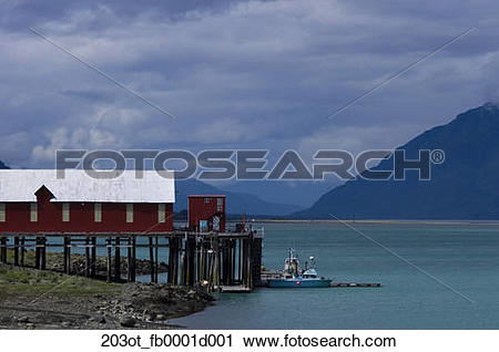 Stock Photography of Cannery at Letnikof Cove in Chilkat Inlet.