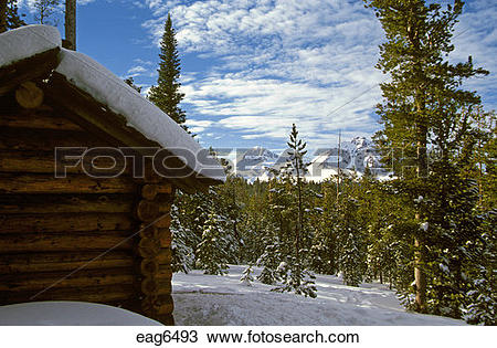 Stock Photo of CROSS COUNTRY SKI CABIN in the THREE SISTERS.