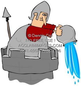 Clipart Illustration: Guarding The Castle with Boiling Oil.