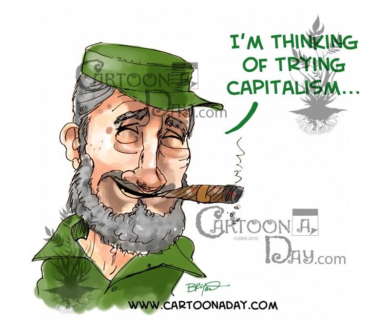 Fidel Castro and Capitalism ❤ Cartoon.