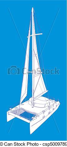 EPS Vectors of Catamaran Boat Drawing Like Paint.