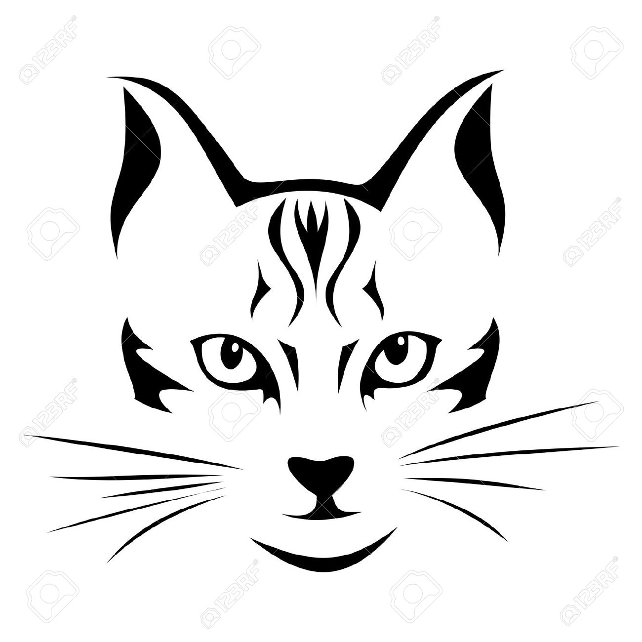 Black Silhouette Of Cat Vector Illustration Royalty Free Cliparts.
