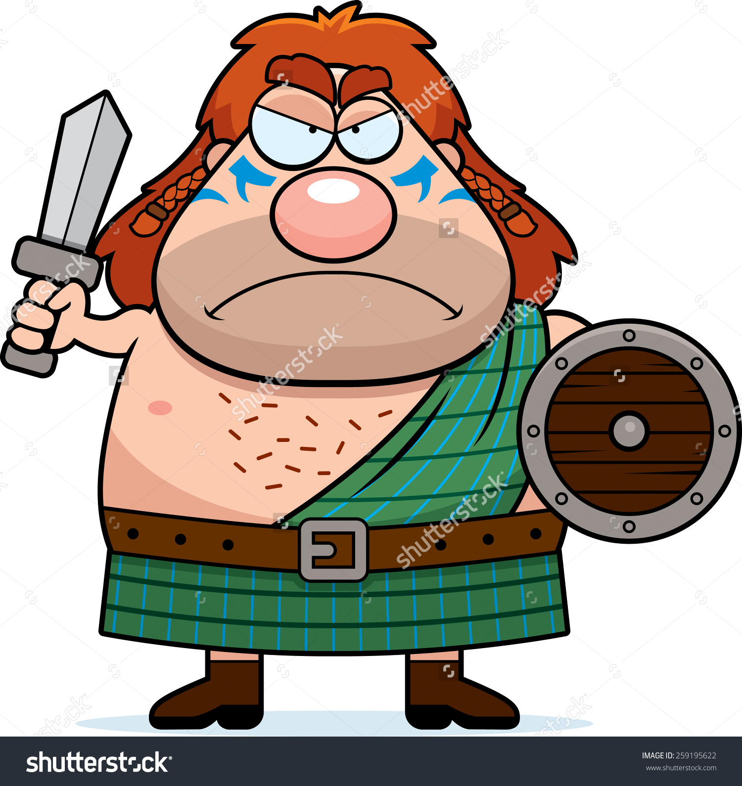 Cartoon Illustration Celtic Warrior Looking Angry Stock Vector.