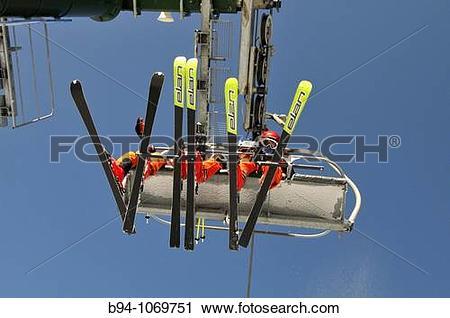 Stock Photography of Chairlifts at La Molina ski resort. Cerdanya.
