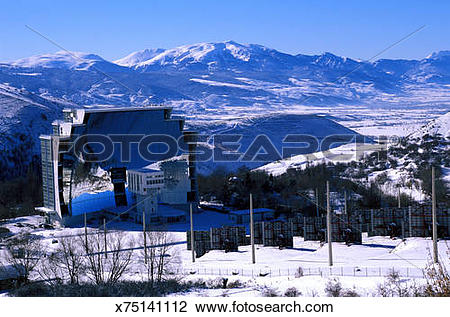Stock Photo of Solar energy panels in winter, Cerdanya, France.