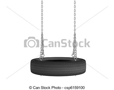 Stock Illustration of Tyre cover swing.