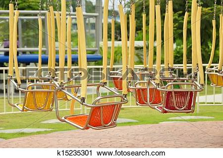 Stock Photography of Chain swing ride in amusement park k15235301.