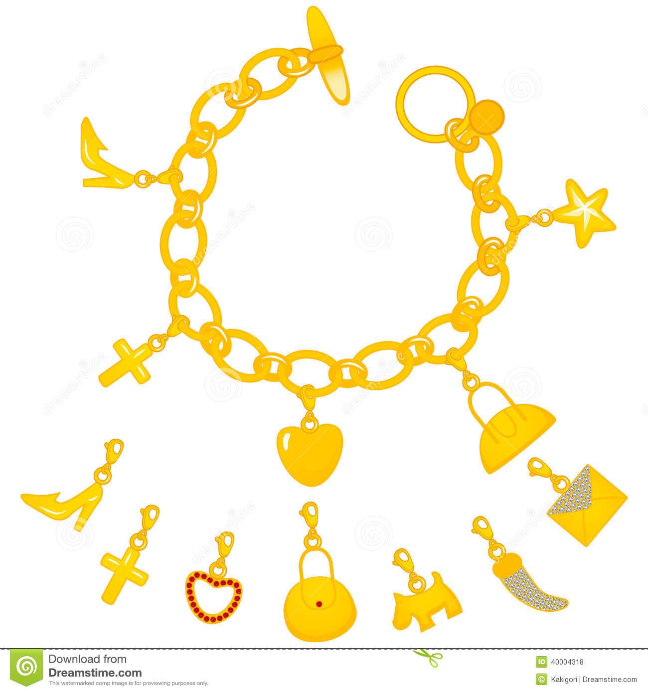Golden Charms Bracelet Stock Vector.