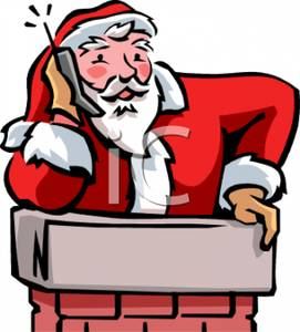 Claus Talking on a Cell Phone Going Down the Chimney Clipart Image.