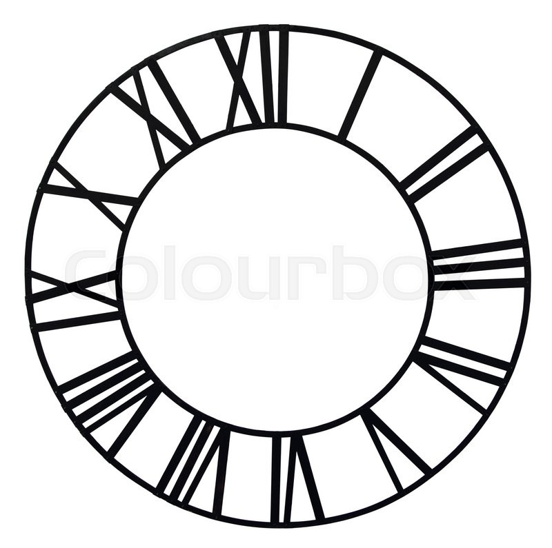 "Buy Stock Photo ""The old church clock dial isolated on white."