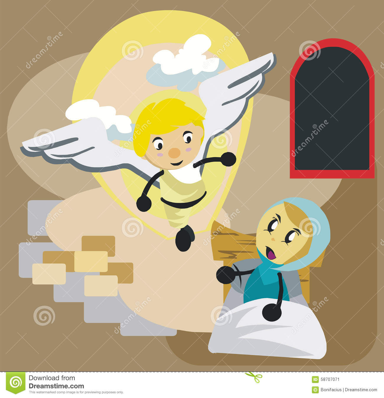 MARY AND ANGEL GABRIEL CARTOON Stock Vector.