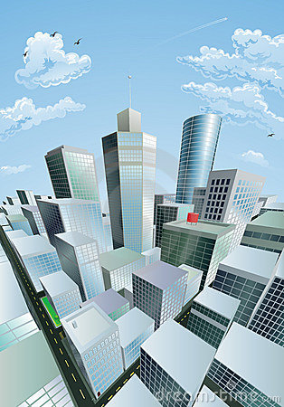 Modern City District. Buildings In Perspective Stock Vector.