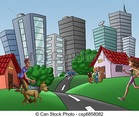 In the city clipart.