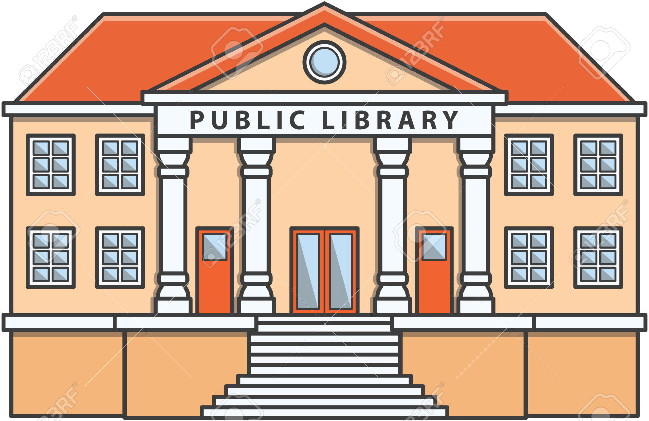 Public Library Doodle Illustration Cartoon Royalty Free Cliparts.