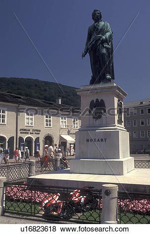 Pictures of Mozart, Salzburg, Austria, Statue of Mozart in.