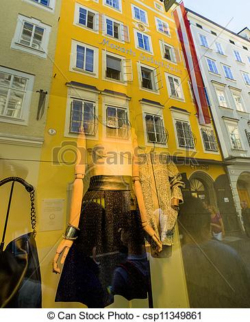Stock Image of mozarts birthplace in salzburg.