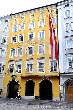 Mozart's Birthplace (Mozarts Geburtshaus) In Salzburg, Austria.