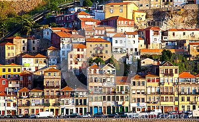 Portugal. Porto City. View Of Douro River Embankment Editorial.