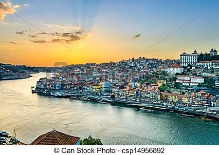 Stock Illustration of Sunset in Porto, Portugal.