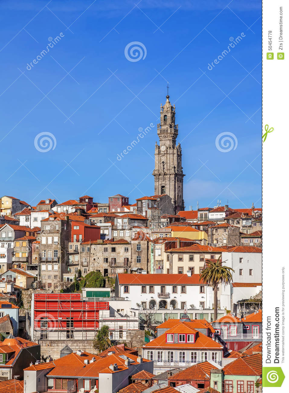 The Iconic Clerigos Tower In The City Of Porto, Portugal Stock.