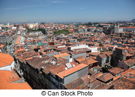 Stock Photo of Portugal. Porto. Aerial view over the city Portugal.