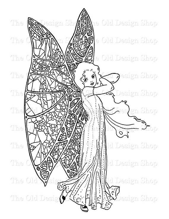 Fairy Clip Art Printable Vintage Butterfly Girl Illustration.