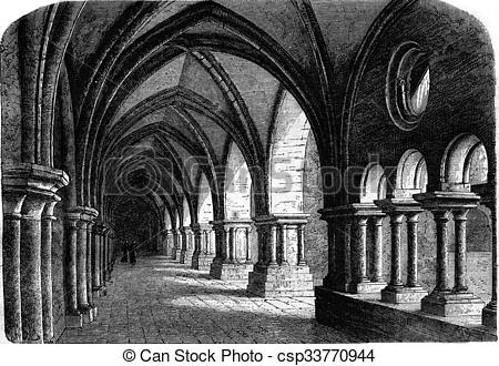 Drawing of Northern wing of the cloister of the abbey of Luxeuil.