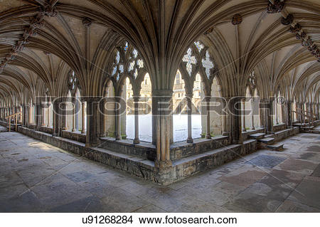 Stock Photo of England, Norfolk, Norwich. Cloisters at Norwich.