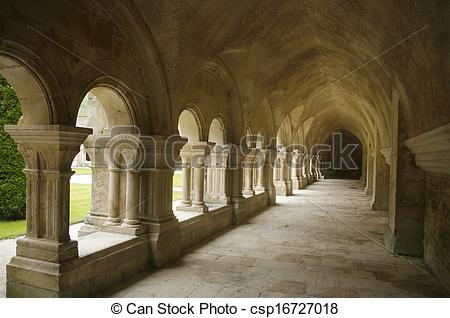 Stock Photography of Gallery of the cloister of the Abbey of.