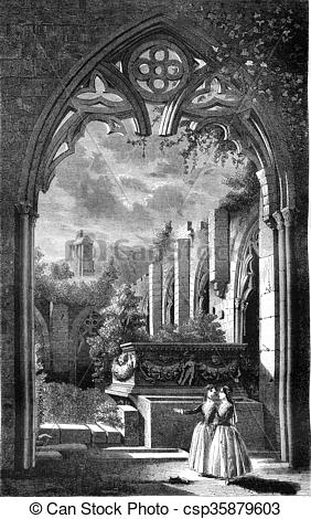 Stock Illustration of View taken in the cloister of the abbey of.
