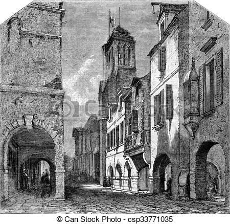 Drawings of La Rochelle, Street Bishopric and the cloister St.