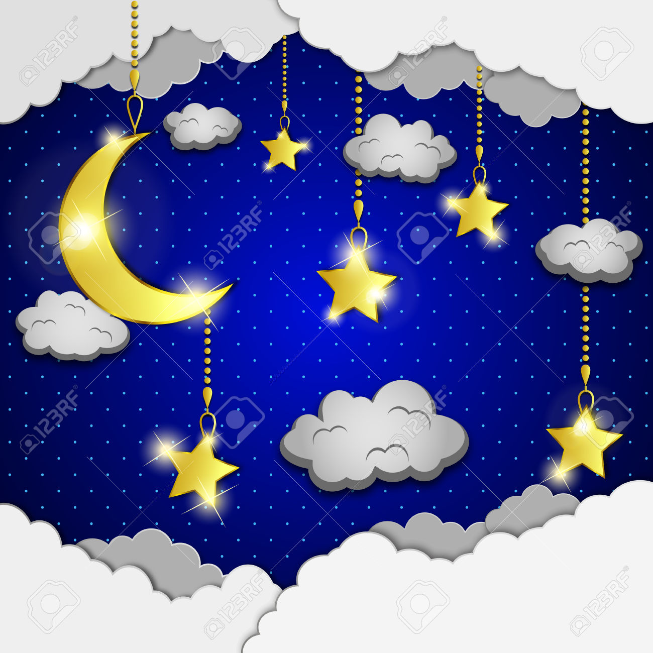 Background With Evening Sky. Moon And Stars In The Clouds. Royalty.