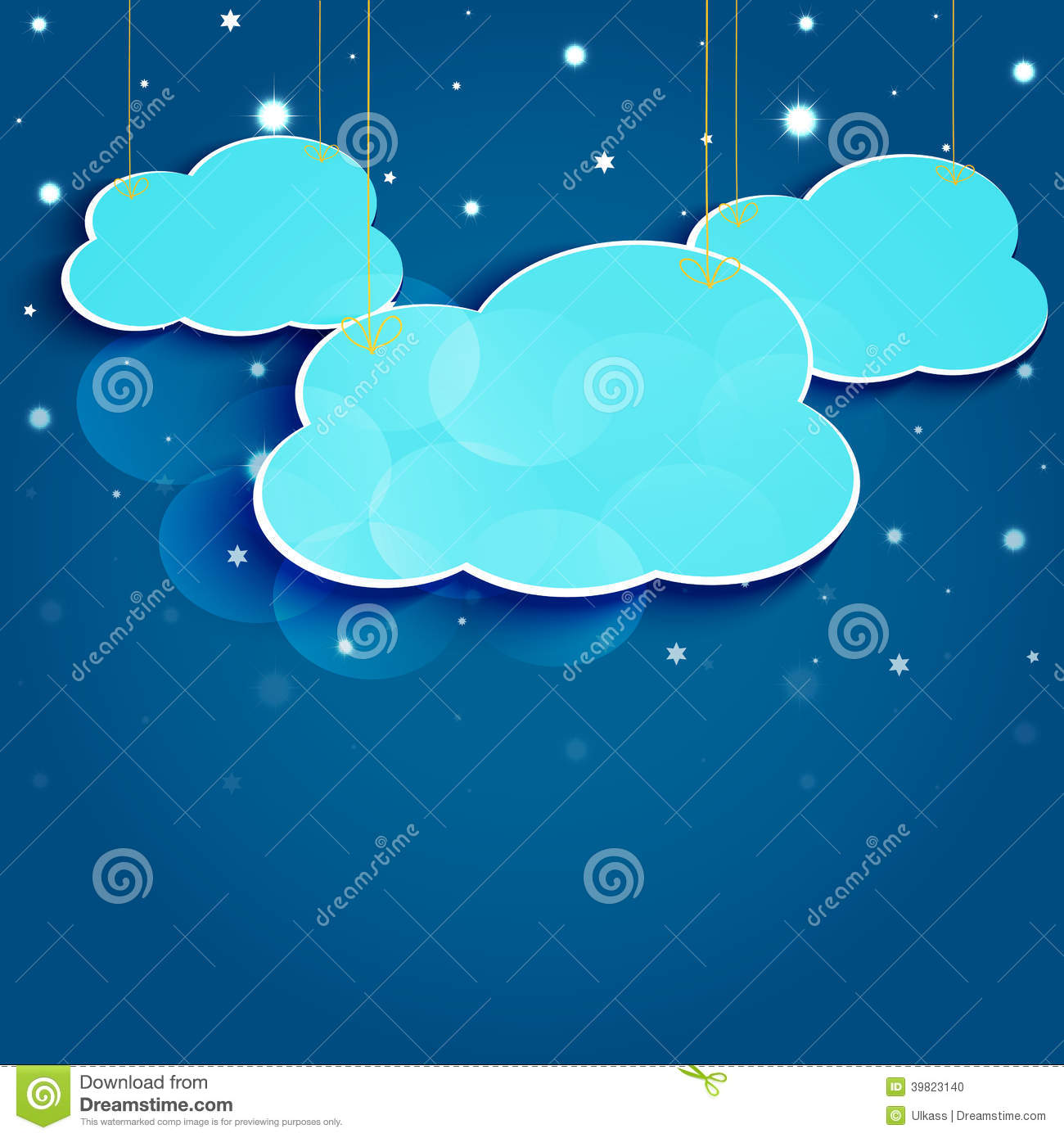 Cartoon Stars And Clouds In The Night Sky. Stock Vector.
