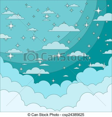 Vector Illustration of Night Sky with Stars in the Clouds..