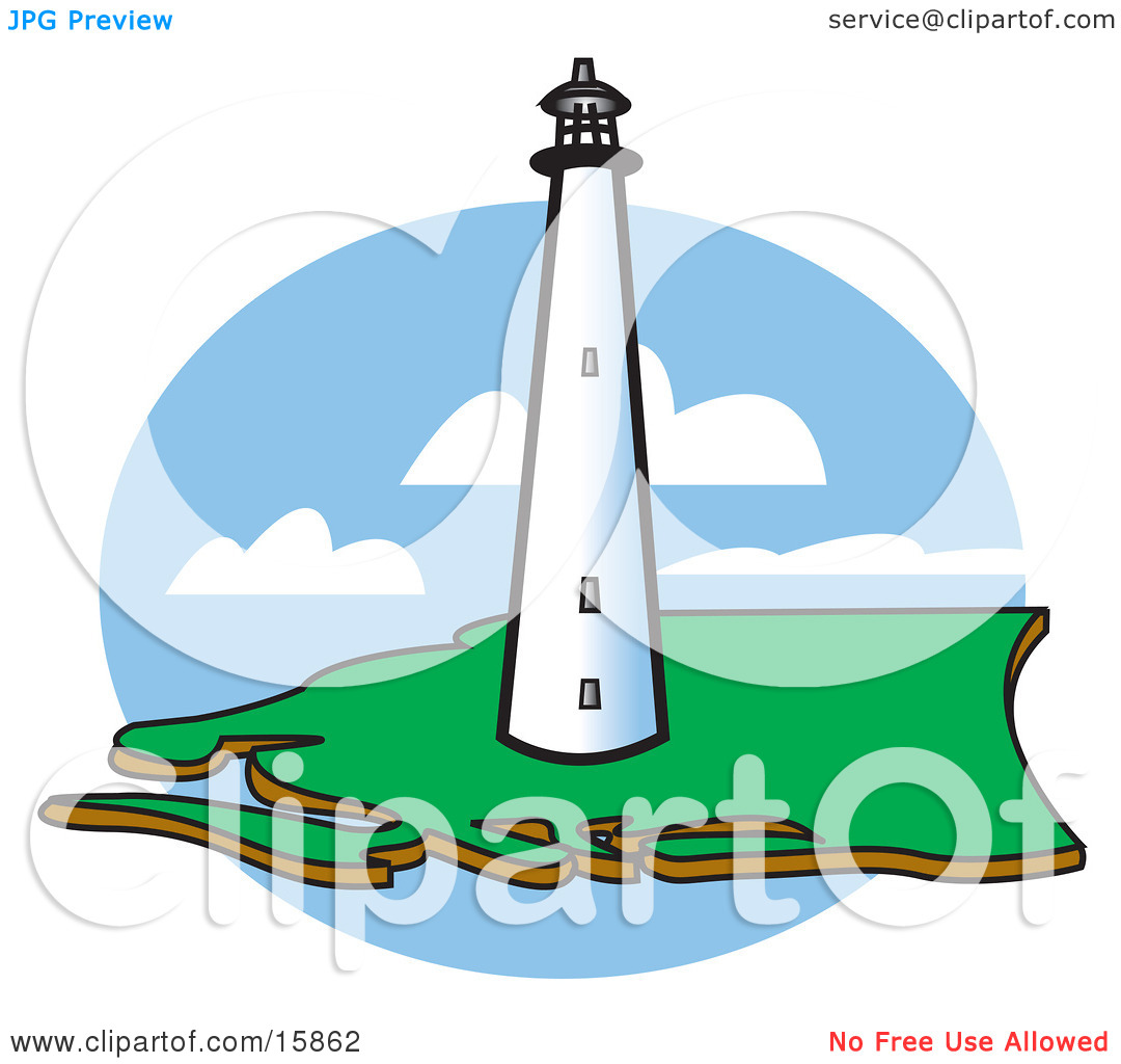 Tall White Lighthouse On The Coast Clipart Illustration by Andy.