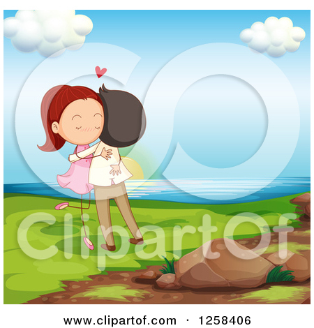 Clipart of a Young Couple Hugging on the Coast.