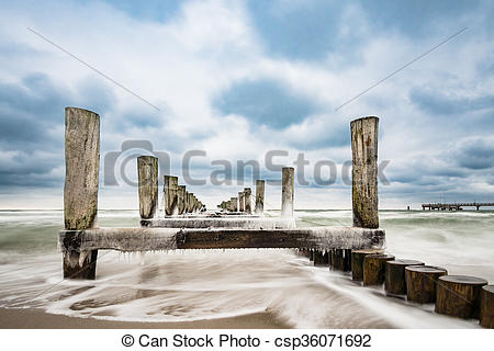 Stock Photographs of Groyne on the Baltic Sea coast in Zingst.