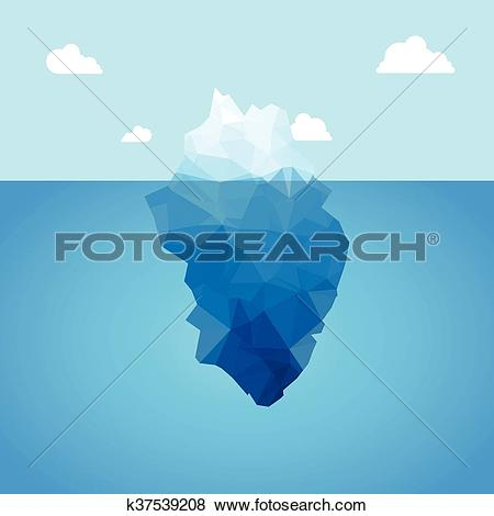 Clip Art of Vector 3d iceberg illustration concept. Success, clean.