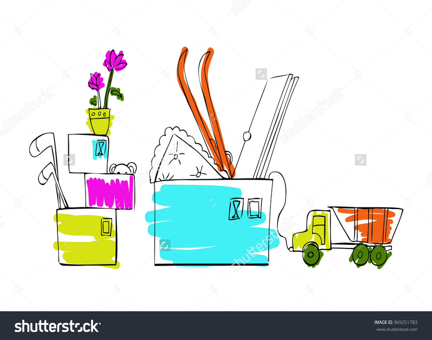 Vector Illustration Collected Things Boxes Stock Vector 369251783.