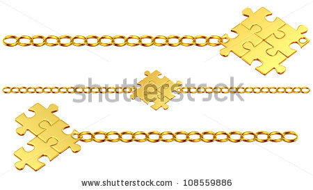 Set Of Shiny Gold Chains With The Collected Puzzles Stock Photo.